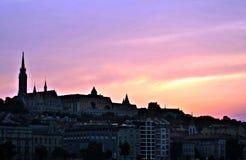 Siluetta di vista della città di Budapest fotografie stock libere da diritti