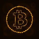 Siluetta digitale di valuta di Bitcoin delle luci Immagine Stock