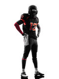 Siluetta diritta del giocatore di football americano fotografia stock libera da diritti