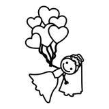 siluetta disegnata a mano con la sposa ed i palloni dei cuori Fotografie Stock Libere da Diritti