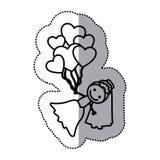 siluetta disegnata a mano dell'autoadesivo con la sposa ed i palloni dei cuori Immagine Stock Libera da Diritti