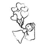 siluetta disegnata a mano vaga con la sposa ed i palloni dei cuori Fotografia Stock Libera da Diritti