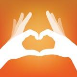 Siluetta disponibila del cuore Fotografia Stock Libera da Diritti