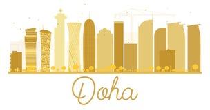 Siluetta dorata dell'orizzonte della città di Doha Fotografia Stock