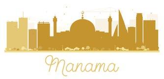 Siluetta dorata dell'orizzonte della città di Manama Fotografia Stock Libera da Diritti