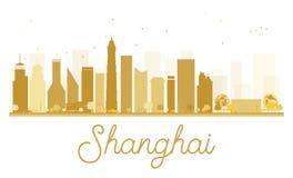 Siluetta dorata dell'orizzonte della città di Shanghai Immagine Stock Libera da Diritti