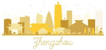 Siluetta dorata dell'orizzonte della città di Zhengzhou Fotografie Stock Libere da Diritti