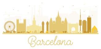 Siluetta dorata dell'orizzonte della città di Barcellona Fotografia Stock Libera da Diritti