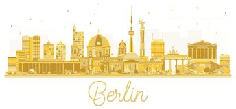 Siluetta dorata dell'orizzonte di Berlin City Fotografia Stock Libera da Diritti