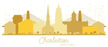 Siluetta dorata dell'orizzonte di Charleston South Carolina City royalty illustrazione gratis