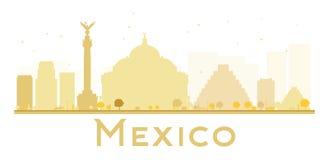 Siluetta dorata dell'orizzonte di Città del Messico Immagini Stock Libere da Diritti
