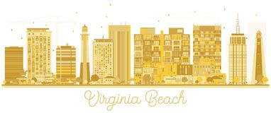 Siluetta dorata dell'orizzonte di Virginia Beach City Fotografia Stock Libera da Diritti
