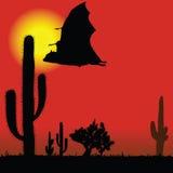 Siluetta e cactus del nero del pipistrello di volo Immagine Stock