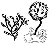 Siluetta e leon floreali dell'albero Fotografie Stock Libere da Diritti