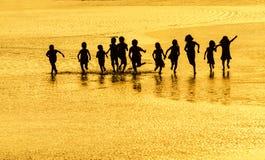 Siluetta ed oro Fotografia Stock