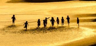 Siluetta ed oro Fotografie Stock