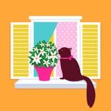 Siluetta elegante di vettore del gatto che si siede sul windo royalty illustrazione gratis
