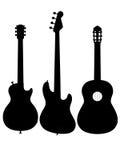 Siluetta elettrica acustica del profilo della chitarra Fotografia Stock