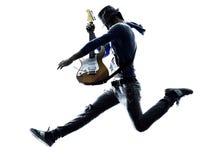 Siluetta elettrica del giocatore del chitarrista dell'uomo immagine stock libera da diritti
