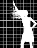 Siluetta femminile nel bianco Fotografia Stock