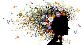 Siluetta floreale della ragazza illustrazione vettoriale
