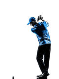 Siluetta golfing dell'oscillazione di golf del giocatore di golf dell'uomo Fotografie Stock Libere da Diritti