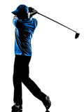Siluetta golfing dell'oscillazione di golf del giocatore di golf dell'uomo Immagini Stock Libere da Diritti
