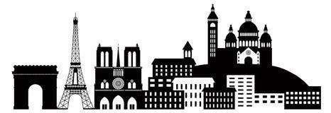 Siluetta Illu in bianco e nero dell'orizzonte della città di Parigi Immagine Stock Libera da Diritti