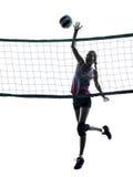 Siluetta isolata dei giocatori di pallavolo della donna Fotografia Stock