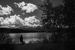 Siluetta, lago Fotografia Stock