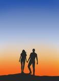 Siluetta maschio e femminile delle coppie fotografia stock libera da diritti