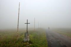 Siluetta in nebbia Fotografia Stock Libera da Diritti
