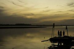 Siluetta nel Mekong Fotografia Stock Libera da Diritti