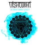 Siluetta nera del chakra della gola sul blu illustrazione vettoriale