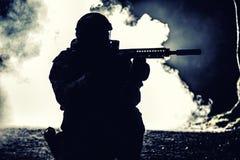 Siluetta nera del soldato Fotografia Stock