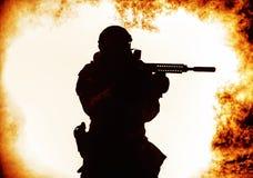 Siluetta nera del soldato Immagine Stock