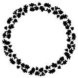 Siluetta nera dell'ornamento della corona dei fiori elemento di progettazione del modello di fiore illustrazione di stock