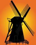 Siluetta nera di un mulino a vento Immagine Stock Libera da Diritti