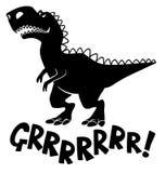 Siluetta nera di un tipo dinosauro del t-rex illustrazione vettoriale