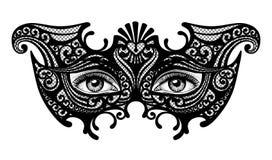 Siluetta nera di una maschera veneziana di carnevale decorativo con il fem Fotografia Stock