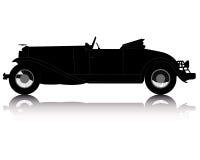 Siluetta nera di vecchio convertibile Immagine Stock Libera da Diritti