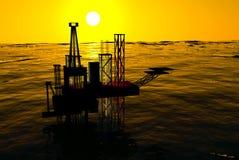 siluetta, oceano e tramonto dell'impianto offshore 3d Fotografie Stock Libere da Diritti