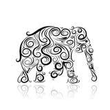 Siluetta ornamentale dell'elefante per il vostro disegno Immagine Stock Libera da Diritti