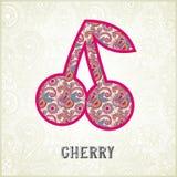 Siluetta ornamentale rosa della ciliegia del modello Immagini Stock