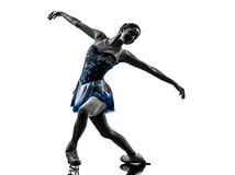 Siluetta pattinante del pattinatore su ghiaccio della donna Fotografia Stock