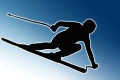 Siluetta posteriore di sport dell'azzurro - sciatore d'accelerazione Fotografie Stock Libere da Diritti
