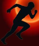 Siluetta posteriore di sport di tramonto - atleta maschio di Sprint Fotografia Stock