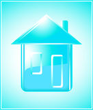 Siluetta pura della casa su priorità bassa blu Fotografie Stock