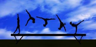 Siluetta relativa alla ginnastica Fotografia Stock