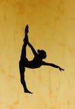 Siluetta relativa alla ginnastica Fotografie Stock